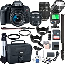 Canon EOS Rebel T7i with 18-55mm f/4-5.6 is STM + Tamron 70-300mm Lenses + 32GB Memory + Camera Bag + TTL Speed Light + Pro Filters,(23pc Bundle)