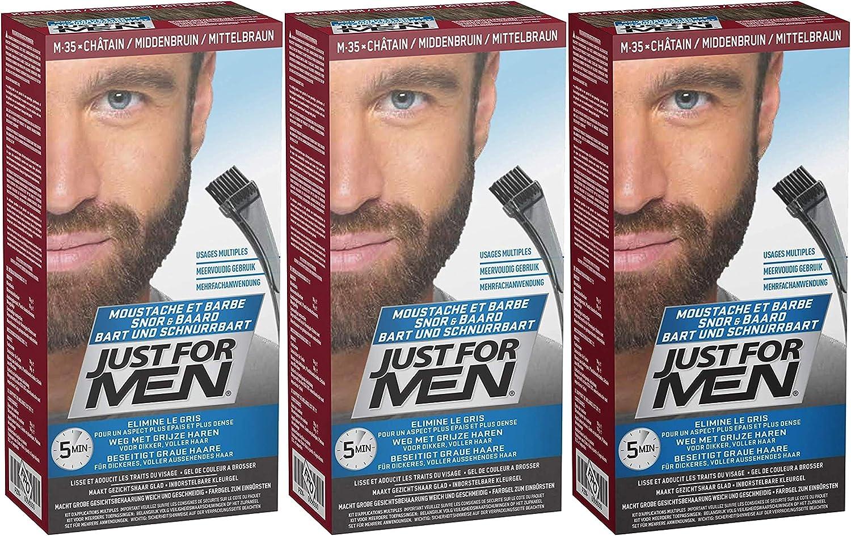 Just For Men - M35 – Barba y barba – Marrón medio, 3 unidades (3 x 28 g).