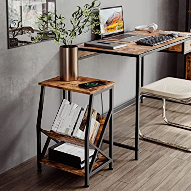 IRONCK Side Table, Small End Tables with Storage, Wireless Charging Nightstand for Living Room, Bedroom, Home Office, Industr