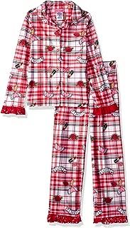 Betsey Johnson Girls' Big Soft Knit Flannel Button Down Pajama Set