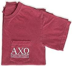 Alpha Chi Omega Block Letters Shirt Sorority Comfort Colors Pocket Tee