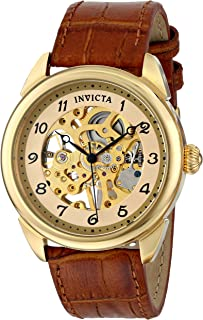 Men's 17188 Specialty Skeletonized Mechanical Hand-Wind Watch with Embossed-Leather Band