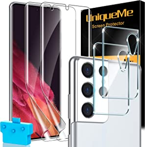 [2+2] UniqueMe Compatible for Samsung Galaxy S21 Ultra 5G 6.8- inch Flexible TPU Screen Protector and Camera Lens Protector [Support Fingerprint Unlock] [Bubble Free] [Installation Tool]