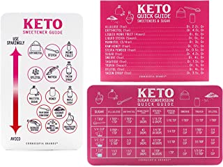 Keto Diet Magnet Sweetener Guide Set, 3-Magnet Cheat Sheet Set with Reference Guide to Best Sugar Substitutes for Dieting, Diabetics, Equivalents, and More