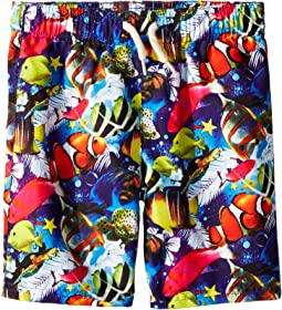 Allover Fish and Reef Print Mid Length Swim Trunks (Toddler/Little Kids/Big Kids)