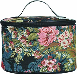 Signare Tapestry Navy & Pink Round Large Cosmetic Bag Travel Makeup Organiser Case with Handle Holder with Peony Flower in Black Background TOIL-PEO)