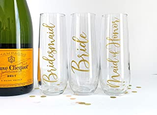 Champagne Flutes for Bridesmaid Maid of Honor Bride