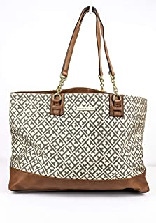Tommy Hilfiger Women's Tote Bag, Off White/Brown
