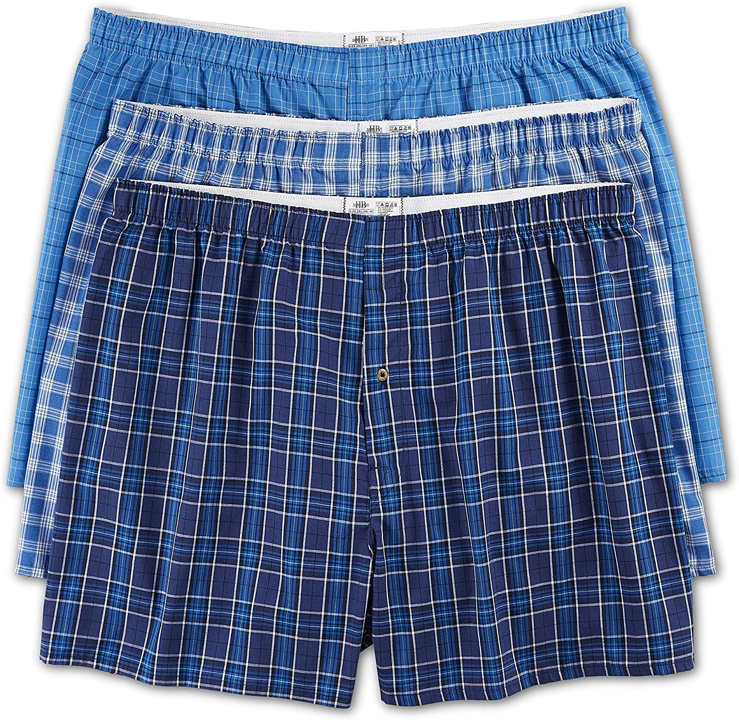 Harbor Bay by DXL Big and Tall 3-Pack Plaid Woven Boxers, Blue, XL