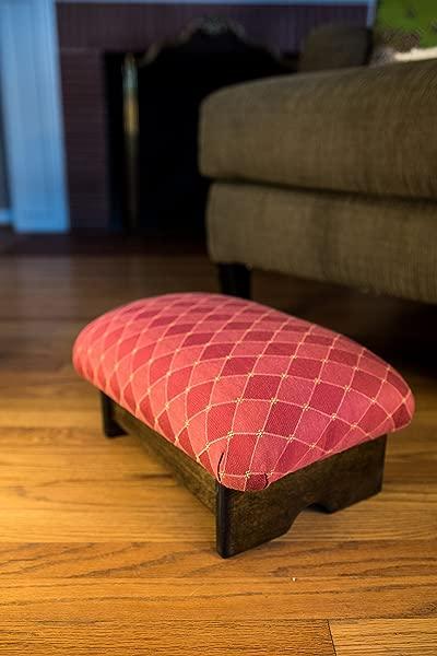 KR 创意软垫脚凳 7 奢华面料美国制造洛可可红胡桃
