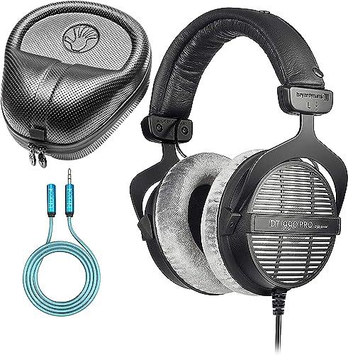 Beyerdynamic DT 990 PRO 250 Ohm Open Back Headphones Bundle with Full-Sized HardBody Pro Headphone Case, and Blucoil 6-FT Headphone Extension Cable (3.5mm)