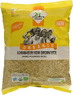24 Mantra Organic Sonamasuri Raw Semi Brown Rice Handpounded, 1kg