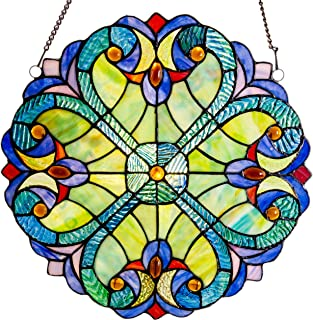 Mini Halston Stained Glass Panel: 12 Inch Decorative Window Hanging Suncatcher - Small Round Tiffany Style Ornament - Blue Heart Decoration for the Wall or Windows with Green, Yellow and Red Accents