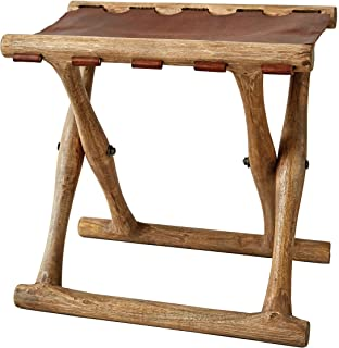 Creative Co-Op Acacia Wood & Leather Folding Stool, Brown