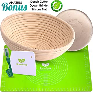 9 Inch Round Bread Proofing Basket - Rattan Banneton - For Professional and Home Use. Create Traditional Bread with this Artisan Baking Tool - 3 Accessories Plus Bonus Premium Silicone Baking Mat.