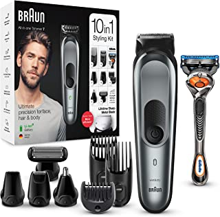 Braun 10-in-1 All-in-one Trimmer 7 MGK7221, Beard Trimmer for Men, Hair Clipper and Body Groomer with 8 Attachments, Charg...