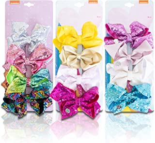 JOJO'S COUTURE BOWS | 3 Pk / 12 Bow Sparkly Sequin & Shimmer Set | 5 Inches | Clips, Barrettes, Hair Accessories for Girls | Best Gift for Toddlers, Kids & Teens | Stocking Stuffers & Party Favors