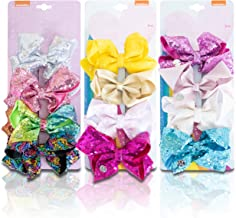 JOJO'S COUTURE BOWS   3 Pk / 12 Bow Sparkly Sequin & Shimmer Set   5 Inches   Clips, Barrettes, Hair Accessories for Girls   Best Gift for Toddlers, Kids & Teens   Stocking Stuffers & Party Favors