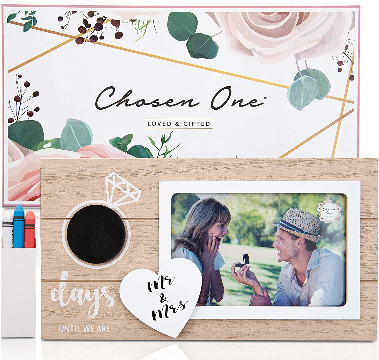 Chosen One Wedding Countdown Photo Frame - Couples 6x4 Photo Frame, Love Picture Frame with Tiny Chalkboard and Chalk! Mr and Mrs Sign for Bridal Shower Gifts, Engagement Gifts, Personalized Frames