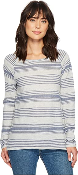 Dylan by True Grit Maritime Yarn-Dye Stripe Long Sleeve Raglan Sweatshirt