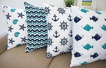 "Beach Theme Howarmer®canvas Aqua Blue Decorative Pillow Covers Beach Theme Pillow Case Set of 4 - Fishes,anchors,sea Stars and Chevron 18"" X 18"""