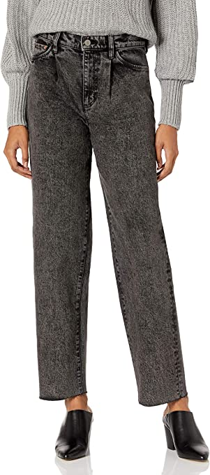 The Drop Women's Monique Single Pleat High-Rise Wide Leg Acid Wash Jean