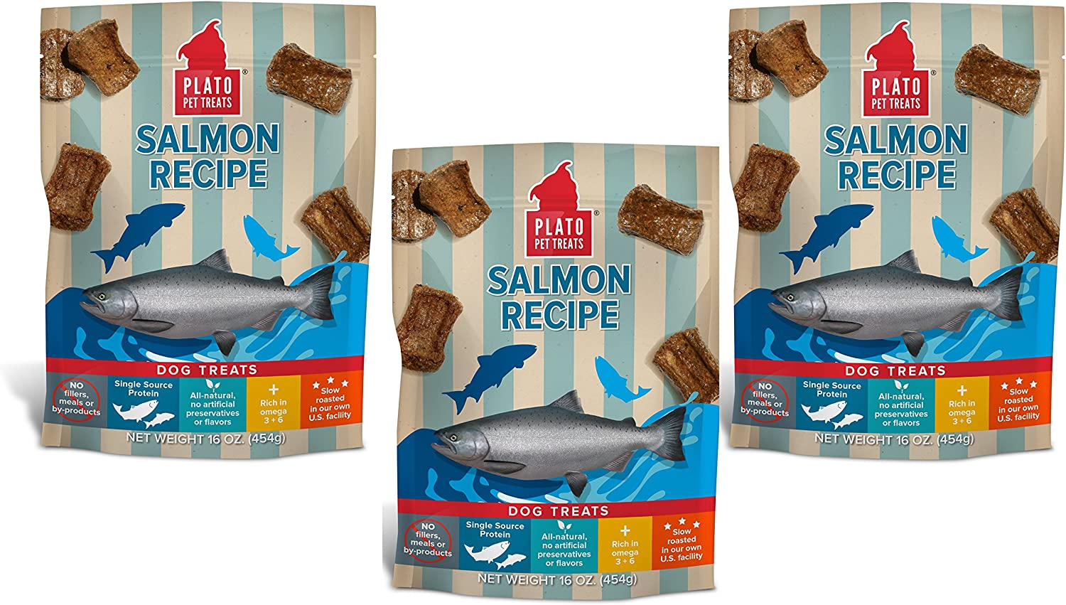PLATO Dog Treats  Salmon Real Strips 16 oz (3 pack)