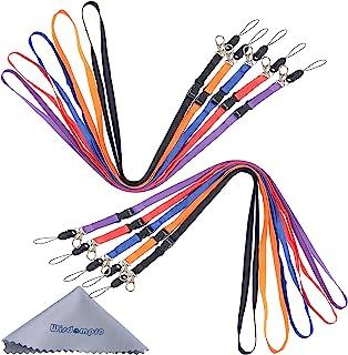 Wisdompro 10 pcs 22 pouces Premium Polyester Tour de Cou avec Crochet en J et Boucle Détachable pour USB, Clé, Porte-Badge...