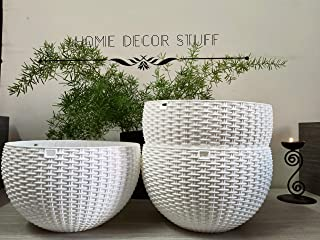 Home Decor Stuff Balcony Hanging Planters   UV Treated Plastic Pots with Hanging Chains (Pack of 4) White Color   Size (8 ...