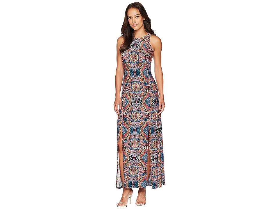 London Times Technicolor Tile Maxi Dress w/ Slits (Multi) Women