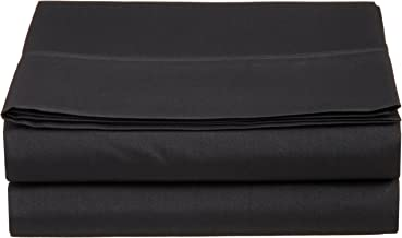 Luxury Twin Flat Sheet Brushed Microfiber, Black