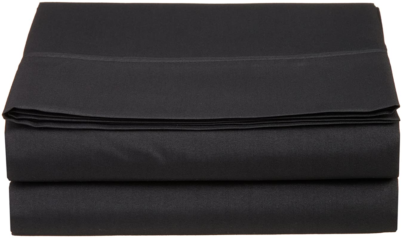 Cathay Luxury Silky Soft Polyester Single Flat Sheet, Full Size, Black