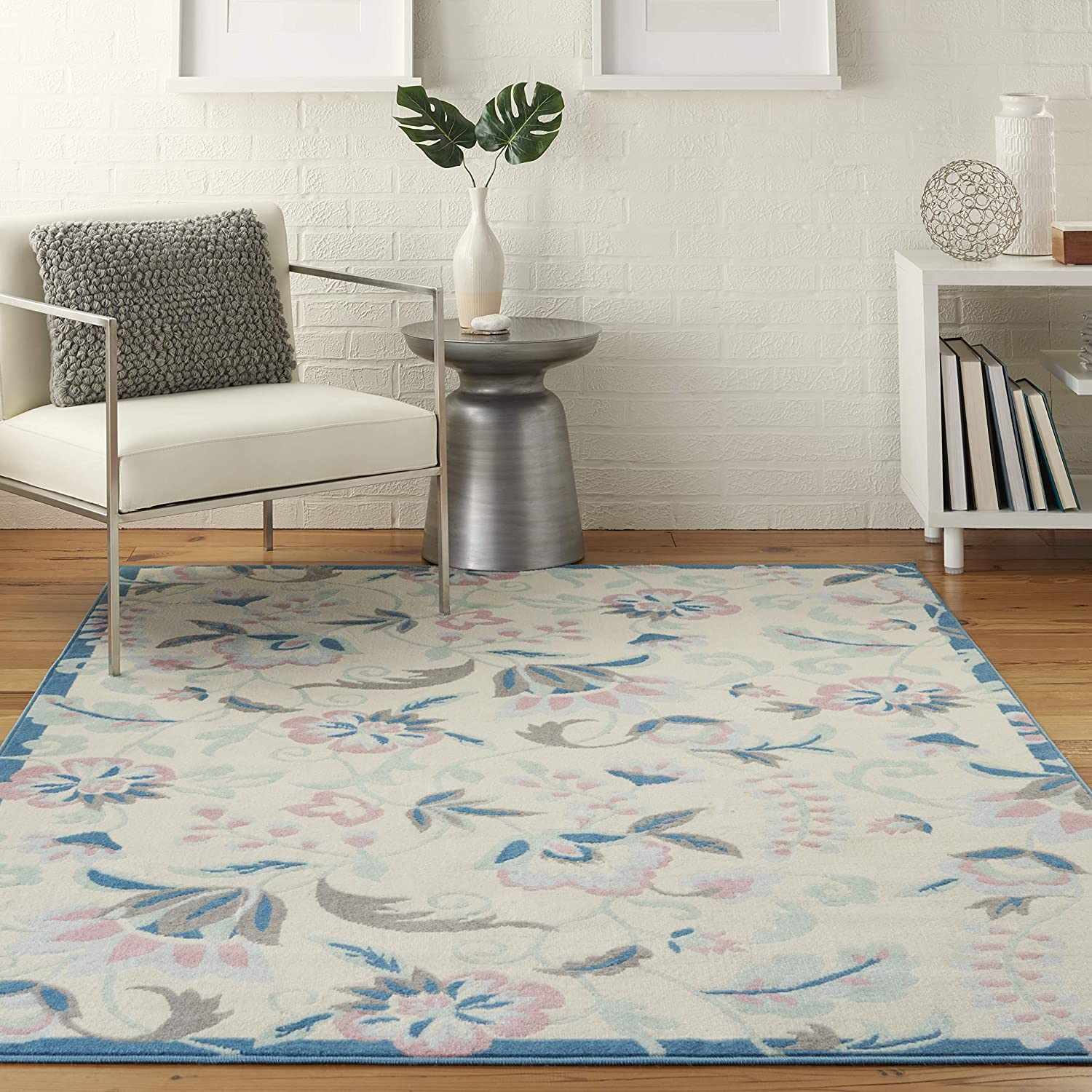 Nourison Jubilant Floral Casual Ivory Multicolor 6' Area Classic Rug At the price 9 x