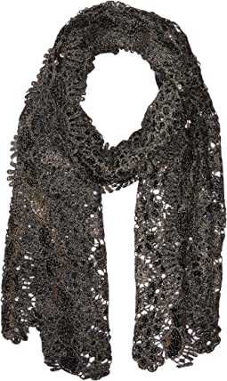 Sequin Scallped Edge Crochet Evening Wrap