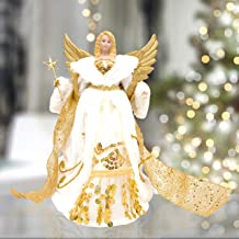 "The Christmas Workshop Gold & Cream 82050 Angel Tree Topper | 12"" Tall Coloured 