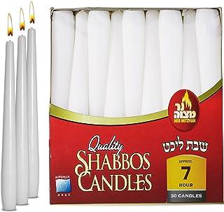 شمع های مخروطی سفید Ner Mitzvah - 8 اینچ - 30 بسته فله - برای Shabbat ، میزهای شام ، رستوران ها ، مراسم و اورژانس - 7 ساعت سوزاندن ساعت