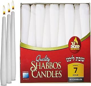 Ner Mitzvah Classic White Taper Candles – 8 Inch – 30 Bulk Pack – for Shabbat, Dinner Tables, Restaurants, Ceremonies and Emergency - 7 Hour Burn Time