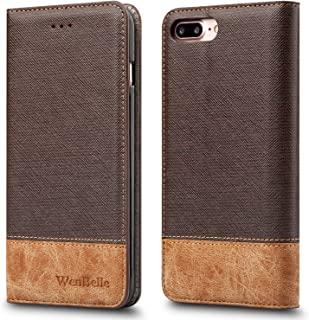 for iPhone 7 Plus/iPhone 8 Plus Case,WenBelle [Blazers Series] Stand Feature,Premium Soft PU Color Matching Leather Wallet Cover Flip Cases for Apple iPhone 7 Plus/iPhone 8 Plus 5.5 Inch (Brown)