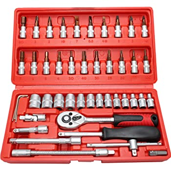 "UniQual 46pcs 1/4"" Socket & Screwdriver S2 Bit Set Ratchet Handle, Extension Bar and Adapter for Bike, Car Repairs, etc."