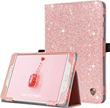 BENTOBEN Galaxy Tab A 8.0 (2015) Case, Glitter Slim Lightweight Flip PU Leather Stylus Holder Auto Sleep/Wake Protective Cover for Samsung Tab A 8.0 SM-T350 (NOT Fit 2017/2018/2019 Version) Rose Gold