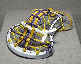 Blackfeet Lacrosse Big Dog Inspired by Albany U Mini Stick Traditional Strung Pita Pocket Yellow Leathers - White Head with Purple Finish Handle
