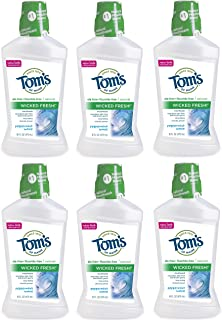 Tom's of Maine Natural Wicked Fresh! Mouthwash, Kids Mouthwash, Peppermint Wave, 16 Ounce, 6-Pack