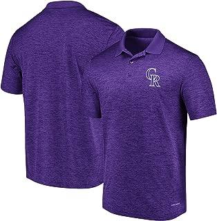 Majestic Men's Colorado Rockies Targeting Success Short Sleeve Coolbase Polo - Purple (Medium)