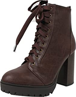 Women's Military Combat Lace Up Lug Platform Chunky Block Heel Ankle Boot