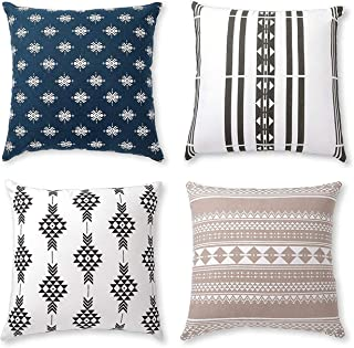 Boho Throw Pillow Covers or Decorative Cushion Covers for Couch Sofa Bedroom Bohemian Set of 4 18X18 Modern Geometric Pill...