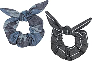Maven Thread 2 Count Hair Scrunchies Elastic Hair Bands Scrunchy Hair Ties Accessories for Women or Girls Navy Camo Black and White Stripe - Boot Camp Set