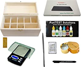 Quality Jewelry Testing Kit 10k 14k 18k 22k Gold, Platinum, Silver .999 Acids, Wood Storage Box, Test Stone, 30x Loupe, Scale, Counterfiet Detector Pen, File, 5gn Silver Bar, 5g Fake Gold Bar