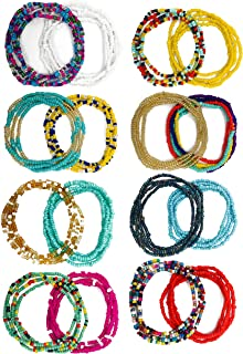 16-18Pcs Belly Waist Necklace Chain Summer Jewelry Bikini Body Chain for Women Girls African Waist Bead Set Stretchy Elastic String Multi-Color Sexy Bracelet Anklet