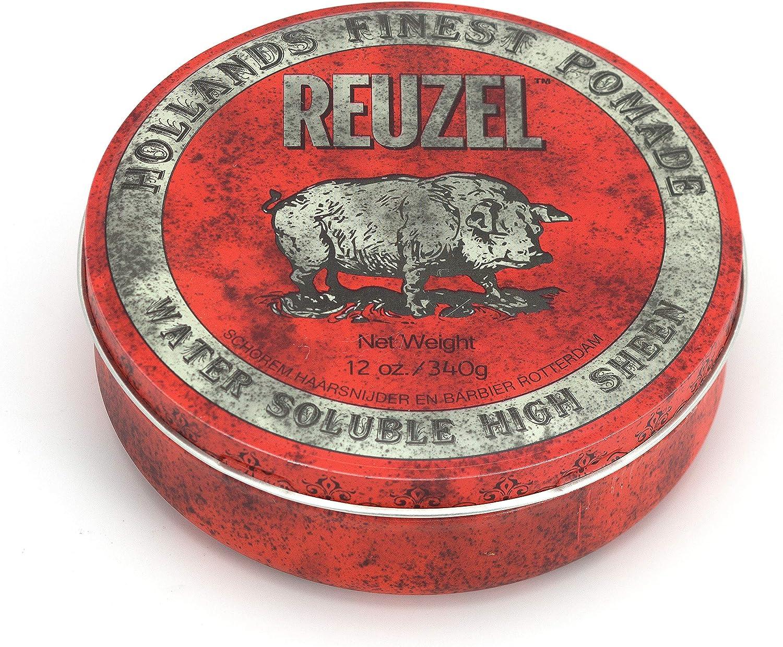 Reuzel - Red Water Soluble High Sheen Pomade - Para todo tipo de cabellos - Fijación fuerte y alto brillo - Fórmula a base de agua - Fácil de aclarar - Nunca se endurece ni se escama - Aroma a caramel