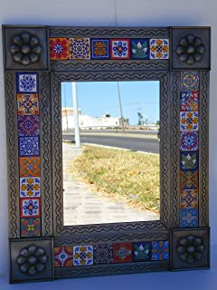 PUNCHED TIN MIRROR mixed talavera tile mexican ethnic hand made folk art